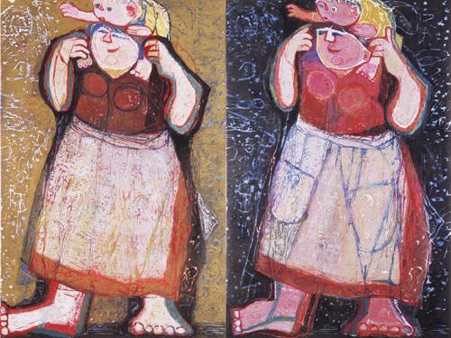 左「人間の詩 母と子—何が見えた」  右「人間の詩 母と子—何が見える?」