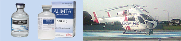 左:イメージ画像 右;大活躍のS医大のドクターヘリ